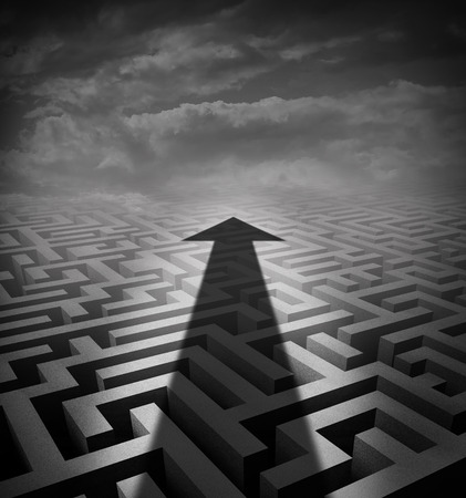way out: Arrow maze business concept as a cast shadow cutting across a three dimensional labyrinth as a success metaphor and solution symbol for finding an  innovatavie way of moving across a challenging problem. Stock Photo