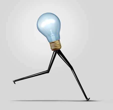 turnaround: Creative energy and quick thinking business concept as a glowing bright light bulb with long legs running fast as a cretivity performance metaphor for fast production and idea solution.