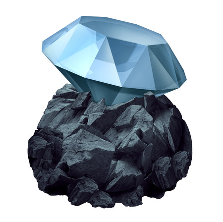 mining: Diamond in the rough as a shiny precious gem hidden in a chunk of jagged rock  as a business symbol and character metaphor for discovery of future potential for success and the value or power within.