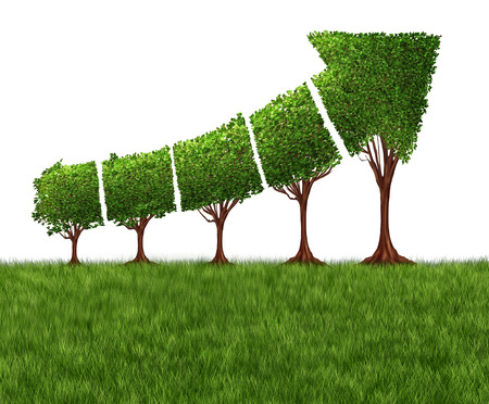 ECO: Economic graph chart and eco or ecological development concept as a group of trees coming together in the shape of an arrow pointing upwards as a success metaphor for profits and growth.