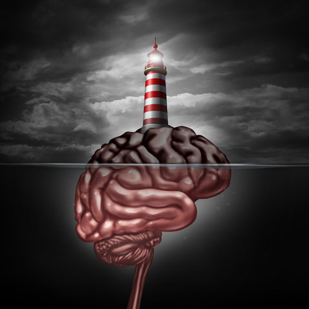 health answers: Thinking and education direction concept and training and development symbol as a lighthouse icon on an island shaped as a human brain as a metaphor for business learning or professional psychiatric or psychological assistance and support.