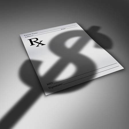 financial burden: Healthcare cost crisis or health care costs concept as a doctor prescription paper with the cast shadow of a dollar sign as a medical finances stress symbol and the price for medicine and therapy services. Stock Photo