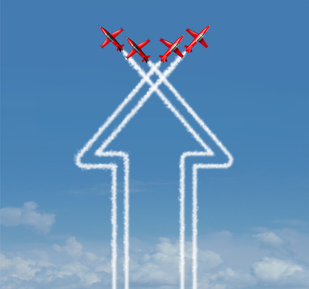 air show: Organization concept as an up arrow symbol and icon for success made from an organized group of flying jet airplanes working together at an air show on a blue sky. Stock Photo