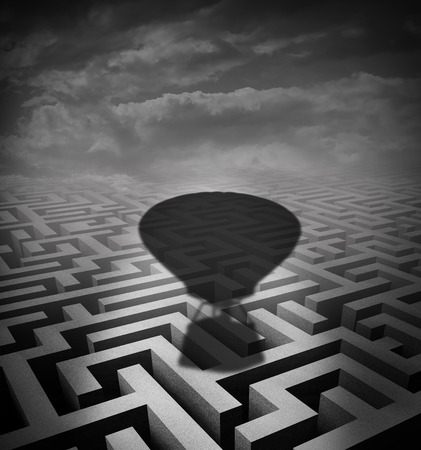 overcome: Overcome obstacles concept as a hot air balloon cast shadow on a maze or labyrinth as a motivational business metaphor for rising above challenges incorporating innovative solutions.