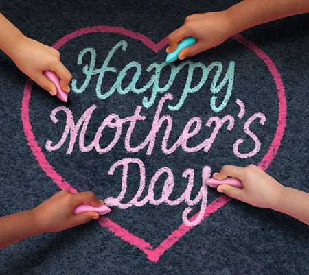 Happy mothers day children drawing with chalk on asphalt a message of love for their loving parent and parenting appreciation for mom from a diverse community of kids celebrating family.