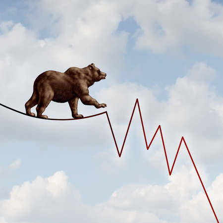 bearish market: Bear market risk financial concept as a heavy bearish beast walking on a high tightrope shaped as a stock market loss diagram chart representing the investment danger ahead.