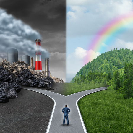 pollution: Climate choice concept as a person standing at a cross road junction between an unhealthy scene with grey polluted dirty and contaminated air contrasted with a green healthy horizon of plants and clean air as a metaphor for global ecology.