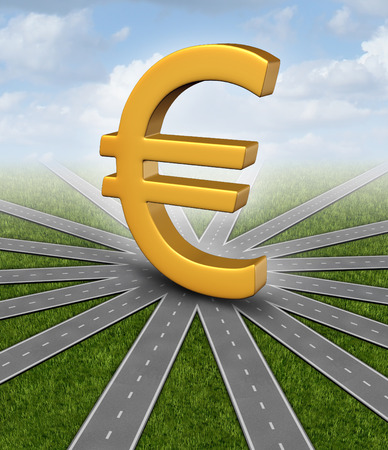 uncertainty: Euro direction currency concept and financial guidance symbol as a european money icon in the middle of radial converging paths as forecasting uncertainty. Stock Photo