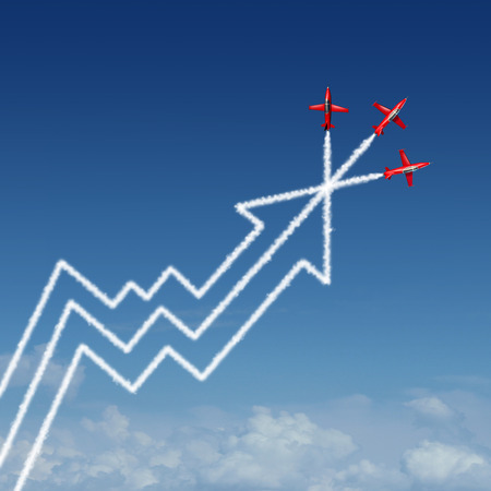 financial performance: Financial performance annual report business concept as a group of air show acrobatic jet airplanes creating a smoke pattern shaped as a finance diagram and profit chart with an upward arrow as a success metaphor for company vision.