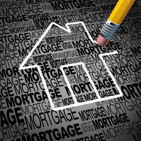 realty residence: Home mortgage concept and real estate house ownership success symbol as a pencil erasing the shape of a family residence as a metaphore for paying off residential debt and financing a household. Stock Photo