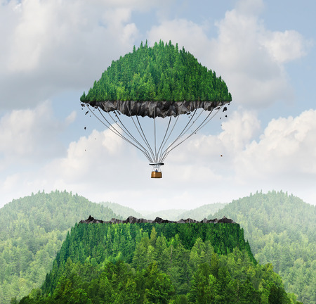 business symbols and metaphors: Imagination concept as a person lifting off with a detached top of a mountain floating up to the sky as a hot air balloon as a metaphor for the power of imagining traveling and dreaming of moving mountains.