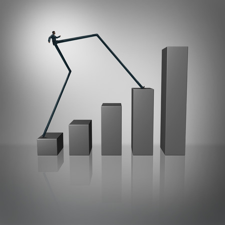 skip: Leap forward as an accelerated success business concept with a businessman with long legs climbing a financial chart or graph as a metaphor for aggressive growth.