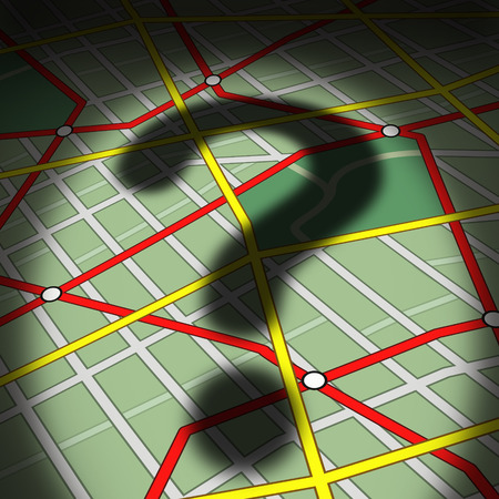 life metaphor: Map questions concept as a city street topograghic diagram with a cast shadow of a question mark as a busiiness or life metaphor for direction uncertainty and transportation guidance help or advice needed to find a way forward.