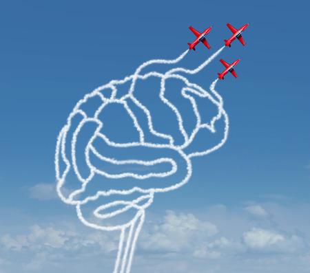空気のグループとして心の可能性と思考可能性の概念を示すアクロバット飛行機が煙でビジネス成功の比喩として人間の脳の形状を作成するまたは 写真素材