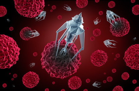 Nanotechnology medicine concept as a group of microscopic nano robots or nanobots programed to kill cancer cells or  human disease as a futuristic health care cure symbol.