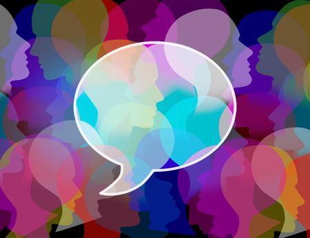 chat: People crowd symbol as a large public group shaped as a speach or chat bubble as an icon for society and population communication and social media discussion. Stock Photo