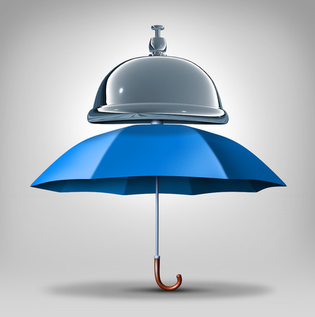 security symbol: Protection services concept as a blue umbrella with a service bell as a symbol and icon for providing safety and security assistance as health benefits or business guarantees.