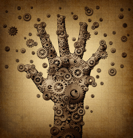 cog: Technology touch concept and robotics or robot symbol as a group of mechanical gears and gog machine wheels shaped as a human hand as a metaphor for bionic engineering or artificial intelligence spread. Stock Photo