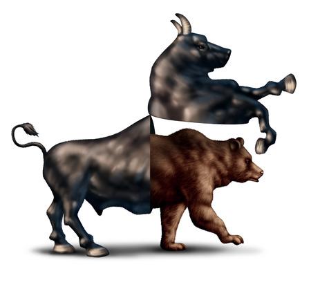 toro: Corrección del mercado oso concepto de negocio financiero