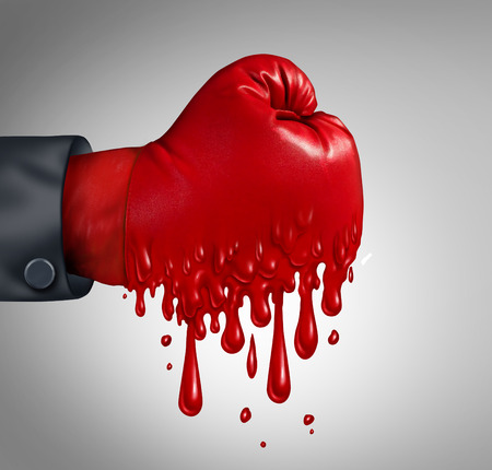 burnout: Business pressure and work burnout as a businessperson wearing a red boxing glove that is melting