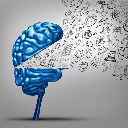 Business thoughts and financial vision concept as an open human brain with office icon symbols