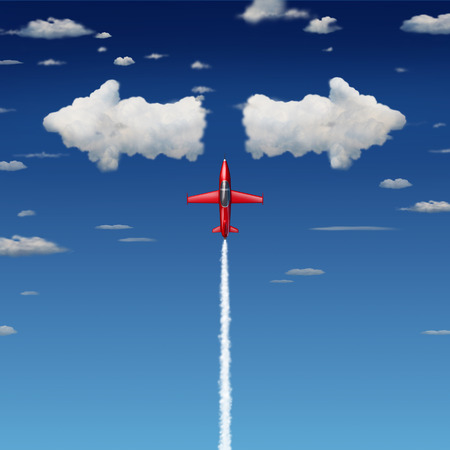 difficult journey: Decision making business concept as an acrobatic jet airplane flying up towards clouds shaped as arrows pointint in opposite directions as a metaphor for making quick difficult decisions.