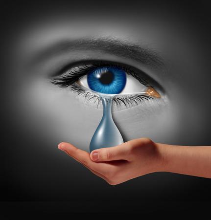 Depressie ondersteuning en therapie-concept als een depressief menselijk oog huilen een traan door een helpende hand gehouden als een metafoor voor oplossingen in de behandeling van de geestelijke gezondheid door middel van psychotherapie of medicatie.