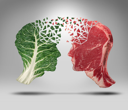 balance: Food information and eating health balance exchange concept related to choices with a human head shape green vegetable kale leaf and a piece of red meat steak for nutritional fitness and lifestyle decisions and diet facts.