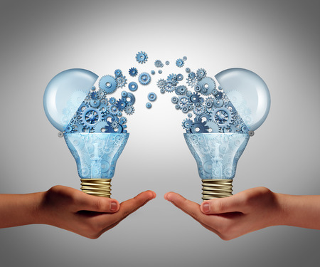 innovation: Ideas agreement Investing in business innovation concept and financial commerce backing of creativity as an open lightbulb symbol for funding potential innovative growth prospect through venture capital.