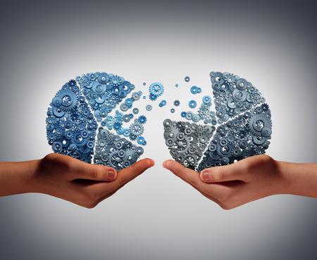 Samen investeren business concept en financiële steun ter ondersteuning van innovatie als twee mensen die een cirkeldiagram gemaakt van tandwielen als symbool voor financieringsovereenkomst en innovatieve groei partnerschap.