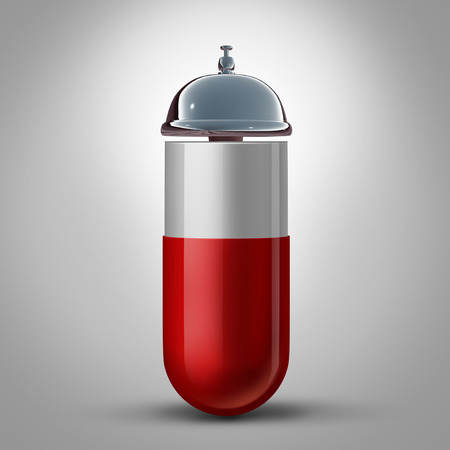 hospitality: Medicine service and pharmacy drugstore assistance and pill preparation guidance as a medication capsule with a hospitality bell as a symbol and concept for doctor and pharmacist health care help.