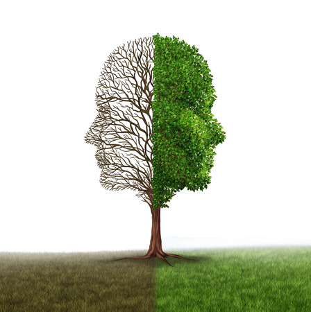trastorno: La emoción humana y el trastorno de estado de ánimo como un árbol en forma de dos rostros humanos con una media ramas vacías y el lado opuesto lleno de hojas como una metáfora médica para el contraste psicológico en sentimientos sobre un fondo blanco.