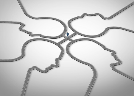 relaciones humanas: Gesti�n de personas y gerente social o asesor profesional o asesor concepto de negocio como una persona de pie en un grupo de caminos conectados que se configura como un rostro humano como un s�mbolo de las relaciones p�blicas y recursos humanos.