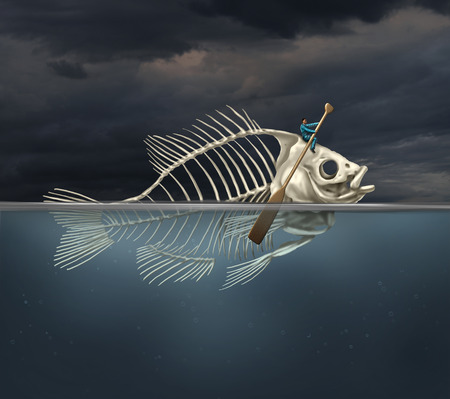 resourcefulness: Resourcefulness recovery and ability business concept and managing a financial or environmental disaster crisis as a salvaging businessman on a fish skeleton rowing with a boat paddle towards new opportunities or climate change solution. Stock Photo