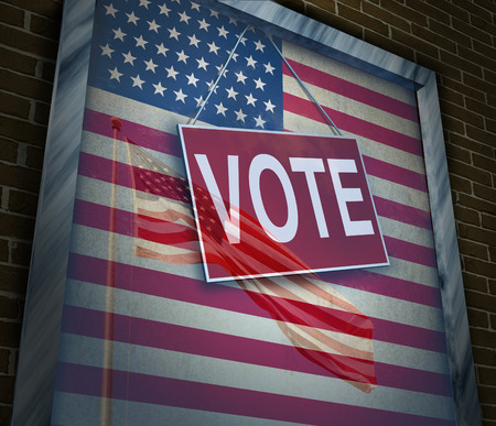 primaries: American vote concept and United States elections symbol as a window with a US flag with a voting sign as an icon for presidential or government political tradition of democracy to choose a candidate for a new term. Stock Photo