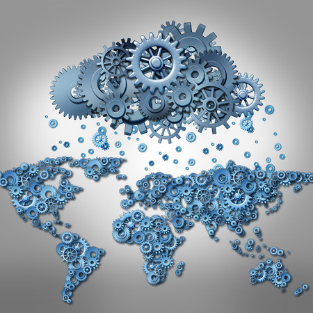 remote server: Cloud computing Concept and global internet technology symbol as world map made of machine gears and a group of cog wheels shaped as a remote virtual data server as a metaphor for mobile wireless media network connection.