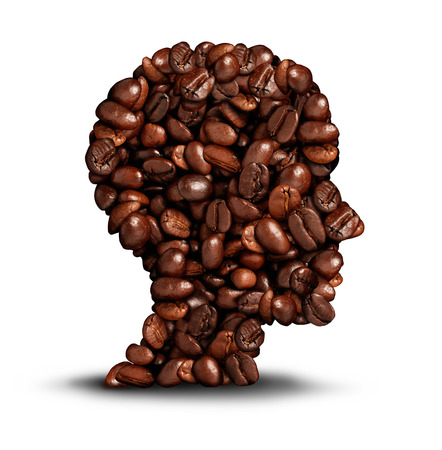 caffiene: Coffee head concept as a symbol for a barista or a cafe icon person as a group of roasted beans shaped as a human head on a white background.