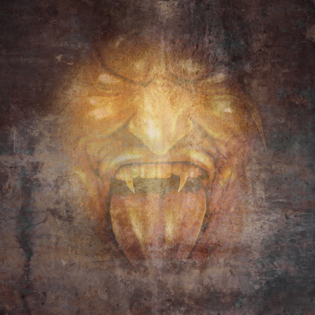 horrifying: Demon face and scary monster concept as a screaming cruel zombie or vampire appearing from the dark shadows as a horror and halloween concept. Stock Photo