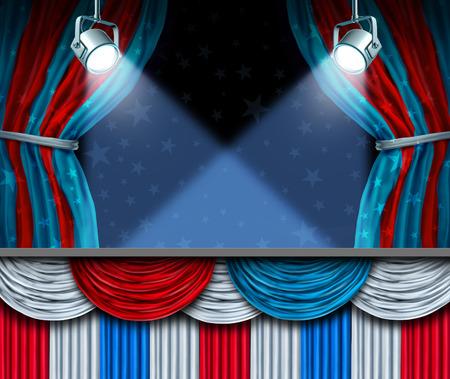 jul: Fondo de Elecciones o cuarto de elemento de dise�o de julio con focos etapa y cortinas con espacio en blanco como un concepto de celebraci�n patri�tica o campa�a para los votantes.