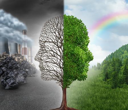 medio ambiente: Cambio de Medio Ambiente y el calentamiento global concepto de medio ambiente como un corte escena en dos con una media que muestra una forma de una cabeza humana con la contaminación y lo contrario con aire limpio sano verde y plantas árbol muerto.