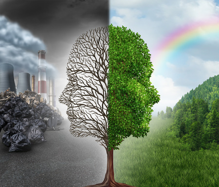 ecology concept: Environment change and global warming environmental concept as a scene cut in two with one half showing a dead tree shaped as a human head with pollution and the opposite with healthy green clean air and plants.