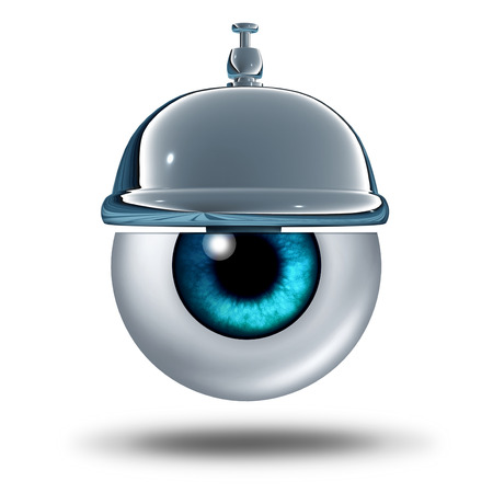 service bell: Eye health service concept as a human vision organ with a service bell as a healthcare metaphor and diagnosis symbol for a vision test or eyesight problems help from an apthalmologist or optometrist medical professional services. Stock Photo