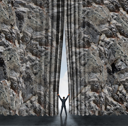 opportunity discovery: Opening business concept and career opportunity and finding an open gatway to success as a businessman moving a rock cliff mountain as if it was a curtain or drapes as a symbol of the other side and freedom.