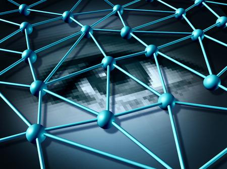 datos personales: Los datos personales y la contrase�a de inicio de sesi�n concepto de tecnolog�a de protecci�n de la informaci�n como una red conectada tridimensional sobre un ojo humano digitales pixelada como s�mbolo para la seguridad de la privacidad en Internet.