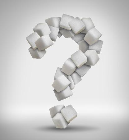 cubo: Azúcar preguntas concepto ingrediente alimentario dulce con un primer plano de un montón de deliciosos trozos blancos de cubos formados como un signo de interrogación como un símbolo confusión de riesgos para la salud de la dieta relacionados con la diabetes y el consumo de calorías.