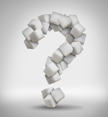 question concept: Sugar questions concept sweet food ingredient with a close up of a pile of delicious white lumps of cubes shaped as a question mark as a confusion symbol of diet health risks related to diabetes and calorie intake.
