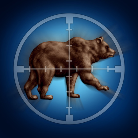 targetting: Bear market target business concept as an icon of targeting investor doubt and lack of confidence in stock trading predicting future price decreases as a financial loss of wealth and conservative investing.
