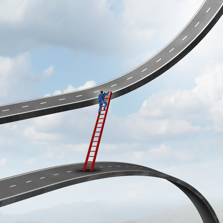 going down: Career move business concept as a businessman climbing a ladder of success away from a road going down to a path rising up as a metaphor for timing strategy and seeking new promising opportunities in the market. Stock Photo