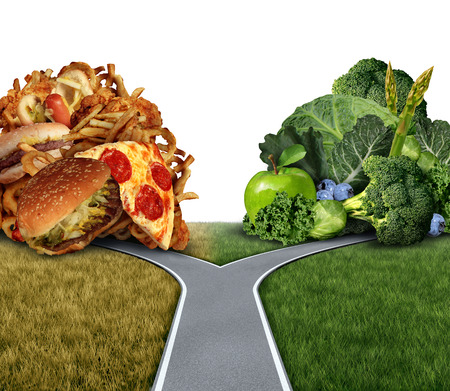 Diet dilemma decision concept and nutrition choices between healthy good fresh fruit and vegetables or greasy cholesterol rich fast food at a crossroad trying to decide what to eat for the best lifestyle choice.