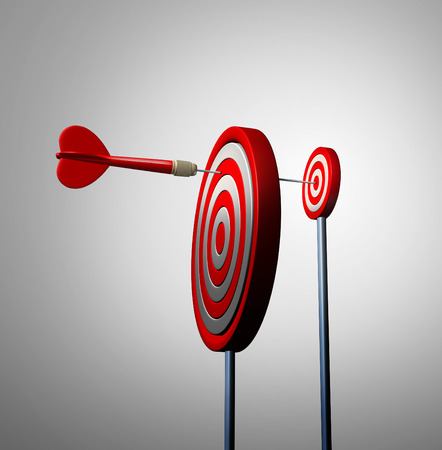 Find an opportunity out of view and hidden opportunities business concept as a red dart reaching over to the next target bulls eye to achieve success as a financial metaphor for long strategy and winning goal vision.